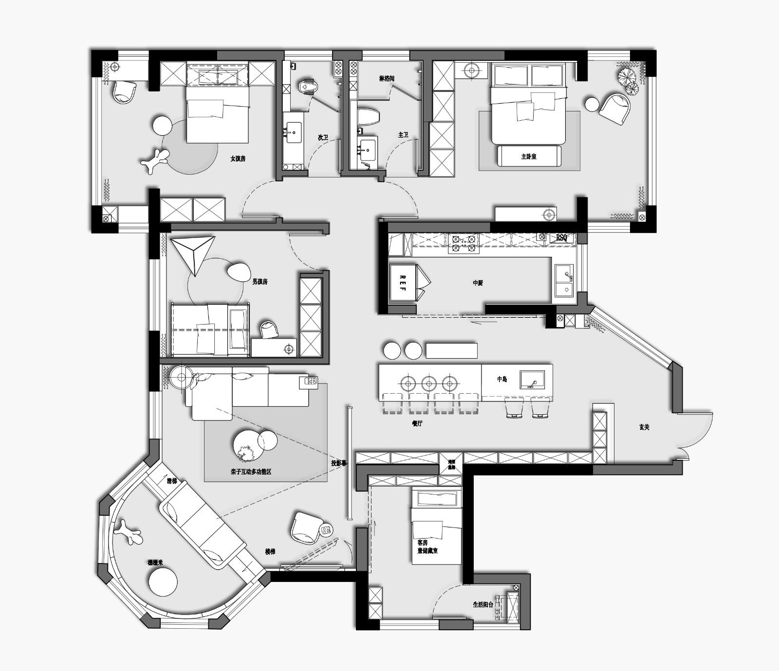 176㎡去客廳極簡設計,榻榻米加上滑滑梯孩子們的自由生長傢插图22