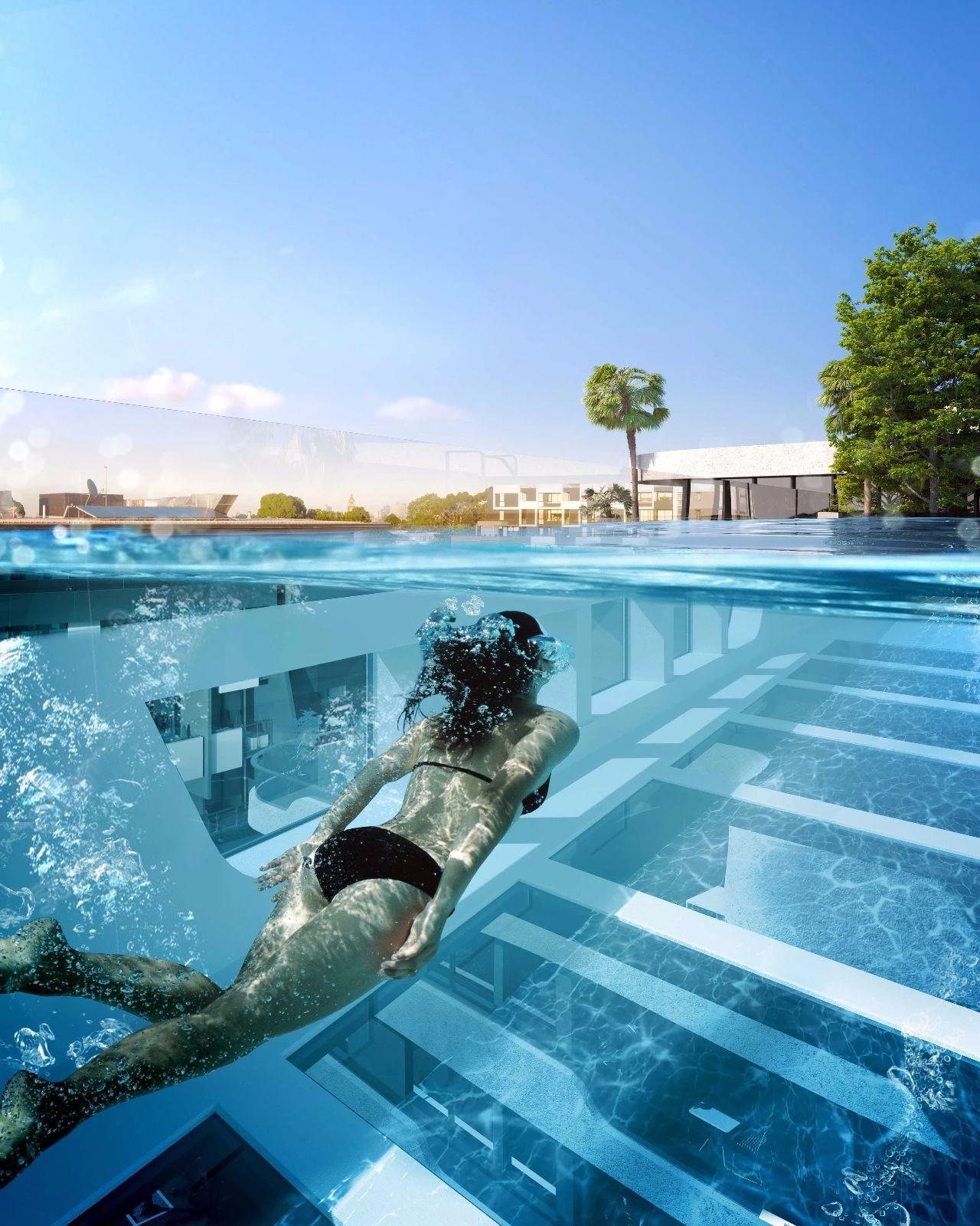 空中泳池_非鬼才 敢设计丨顶层连廊竟被设计成悬浮的空中泳池